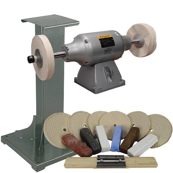 BALDOR® 3/4HP 2-Speed Buffer, 11 Ga Steel Stand & Buffing Kit