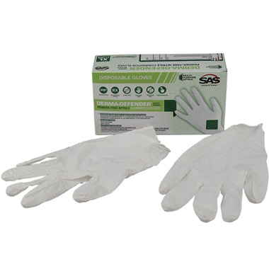 SAS® DERMA-DEFENDER™ Disposable Nitrile Work Gloves, Lrg