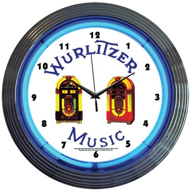 Wurlitzer Blue Jukebox Neon Wall Clock