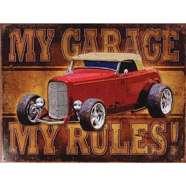 "My Garage - My Rules Tin Sign - 16""W x 12-1/2""H"