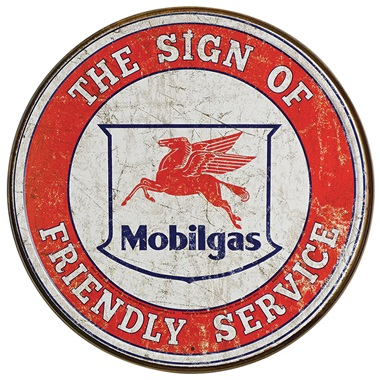 "Mobil Friendly Tin Sign - 11-3/4"" Dia"