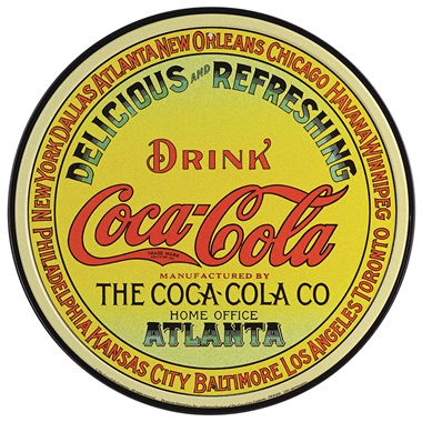 "Coke Keg Tin Sign - 11-3/4"" Dia"
