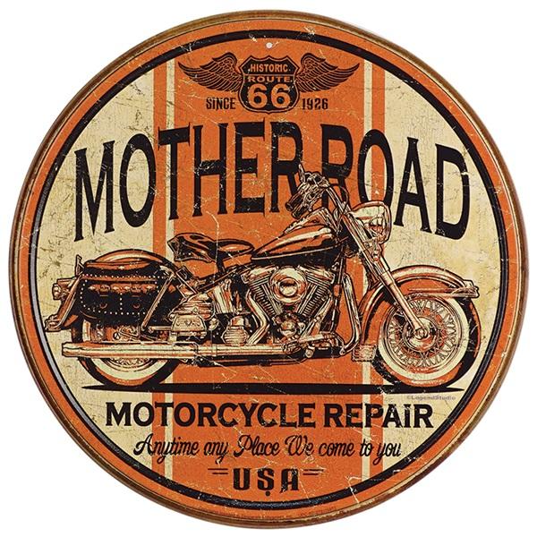"""Mother Road Tin Sign - 11-3/4"""" Dia"""