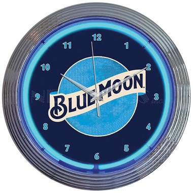 Blue Moon Beer Neon Wall Clock