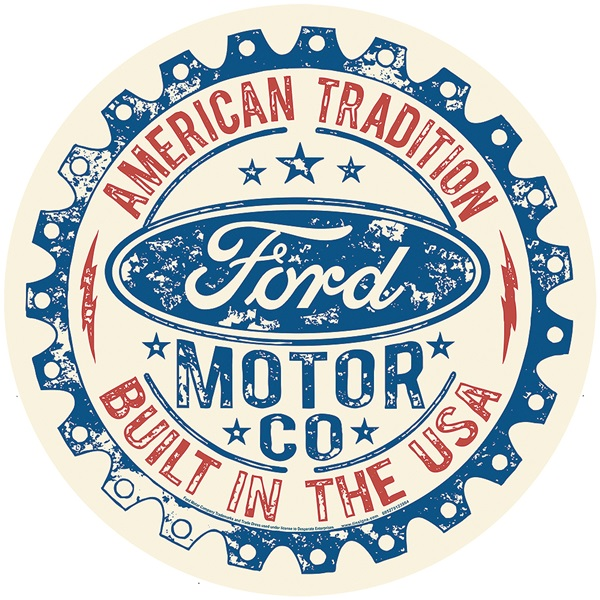 "Ford - Built in USA Tin Sign - 11-3/4"" Dia"