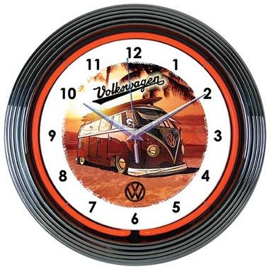 Volkswagen Bus Neon Wall Clock