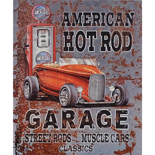 "American Hot Rod Garage Tin Sign - 12-1/2""W x 16""H"