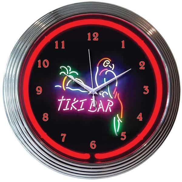 Tiki Bar Neon Wall Clock