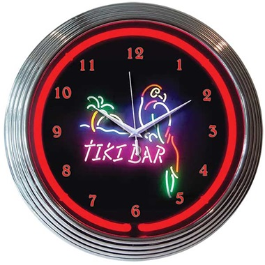 Tiki Bar Neon Wall Clock