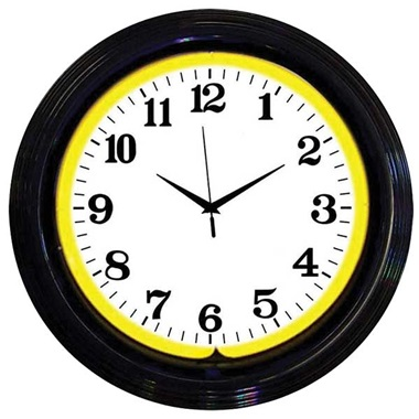 Black Rim Yellow Neon Wall Clock