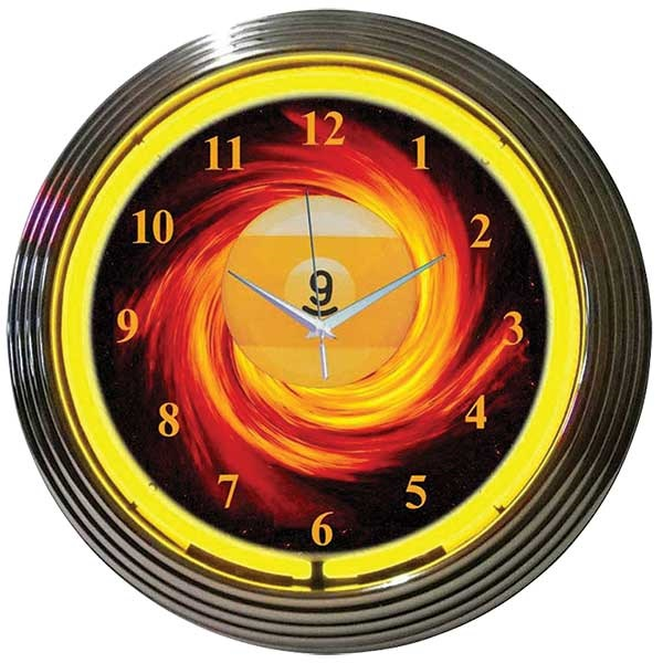 9 Ball Fire Neon Wall Clock