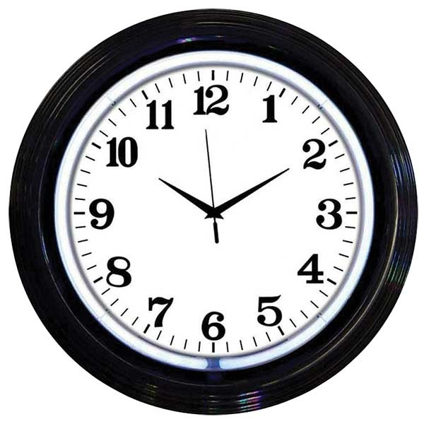 Black Rim White Neon Wall Clock