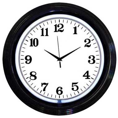 Black Rim White Neon Wall Clock