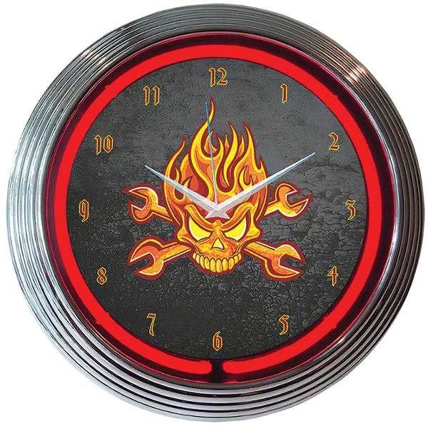 Mechanic Fire Skull & Wrenches Neon Wall Clock