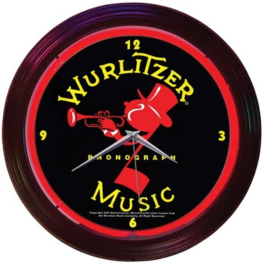 Wurlitzer Red - Johnny One Note Neon Wall Clock