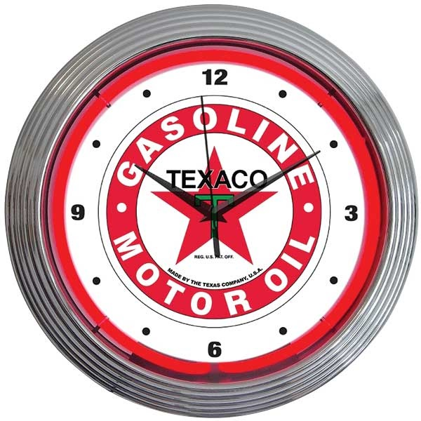 Texaco Motor Oil Neon Wall Clock