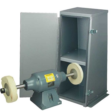 BALDOR® 1-1/2HP Buffer and Enclosed Buffer Cabinet Stand