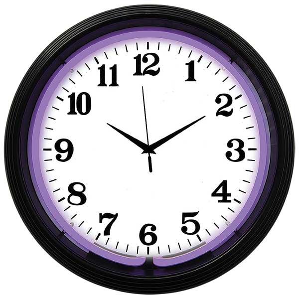 Black Rim Purple Neon Wall Clock