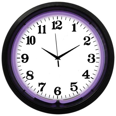 Black Rim Purple Neon Wall Clock