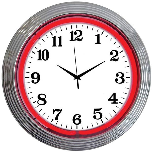 Chrome Rim Red Neon Wall Clock