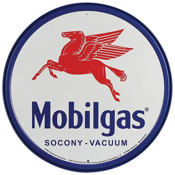 """Mobilgas Tin Sign - 11-3/4"""" Dia"""