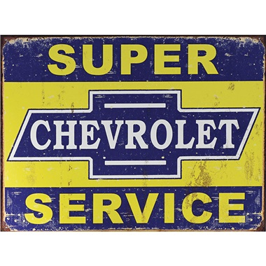 "Chevy Super Service Tin Sign - 16""W x 12-1/2""H"