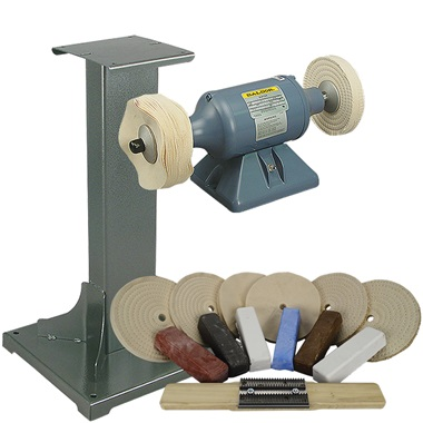 BALDOR® 1/3HP Buffer, 11 Ga Steel Stand & Buffing Kit