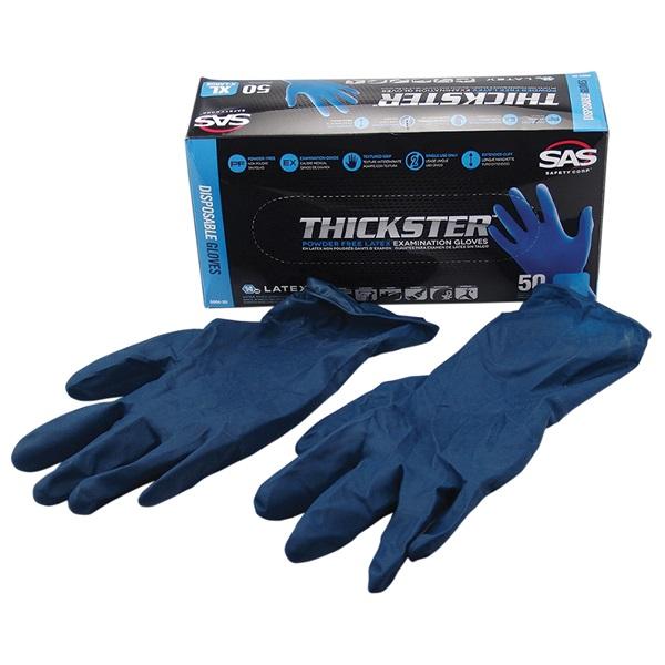 SAS® THICKSTER™ Disposable Latex Work Gloves, Lrg