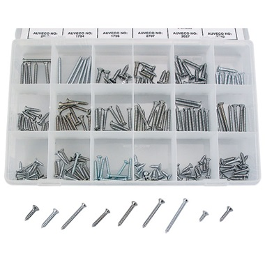 200-Pc Chrome-Plated Self-Tapping Screw Assortment