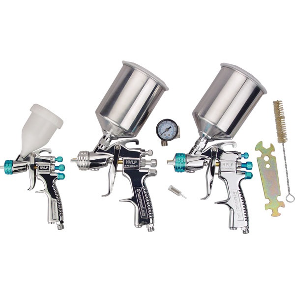 startingline hvlp spray 3 gun set tp tools equipment. Black Bedroom Furniture Sets. Home Design Ideas
