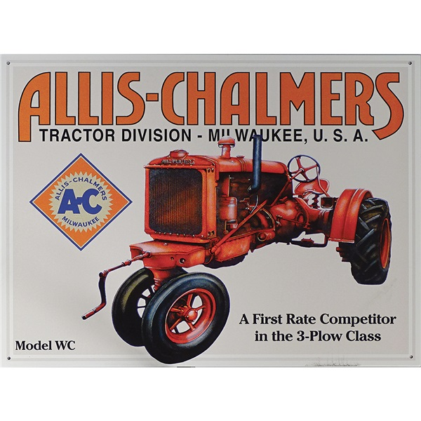 """Allis-Chalmers Tractor Tin Sign - 16""""W x 12-1/2""""H"""
