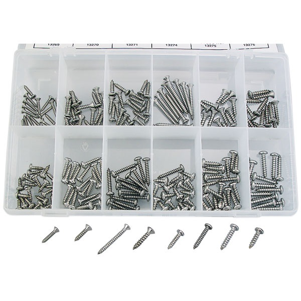 216-Pc Stainless Steel Self-Tapping Screw Assortment