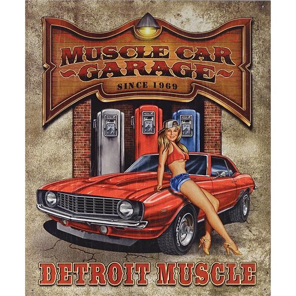 """Muscle Car Garage Tin Sign - 12-1/2""""W x 16""""H"""