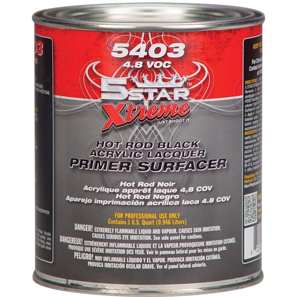 5STAR® Hot Rod Black Acrylic Lacquer Primer (1K) - Black, Qt